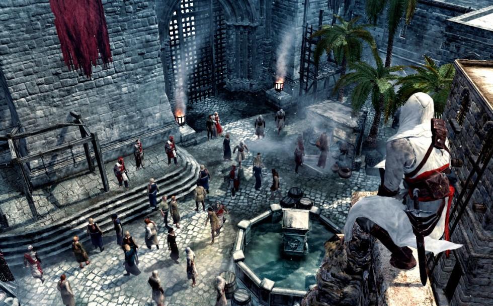 Altaïr observando a un grupo de templarios entre los cuales se encuentra un objetivo de asesinato principal.
