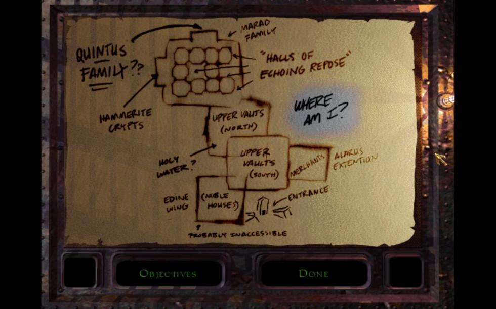 He aquí uno de los panfletos de Garrett en los que plasma su característica ironía. menos mal que en Thief 2, se toma el tema de los mapas un poco más en serio.