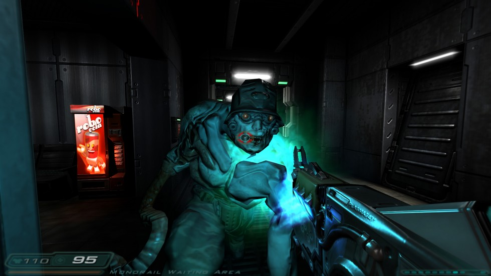 Como decía, lo reflejos son la base de Doom 3... y más vale que te acostumbres a estos primeros planos porque serán algo continuo.