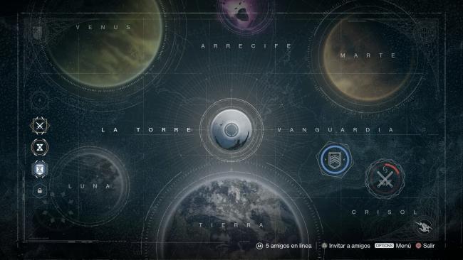 Basicamente, este es el mapa de Destiny, con sus localizaciones que vamos desbloqueando al avanzar.