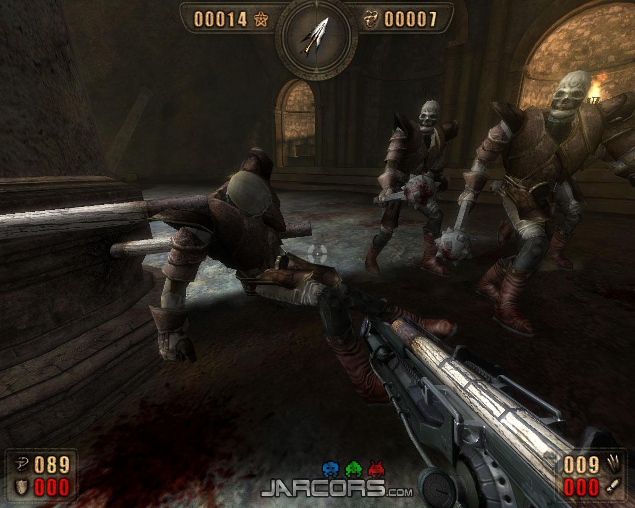 El motor físico del juego permite usar este magnífico lanza estacas para lanzar a los enemigos y empalarlos contra la pared.