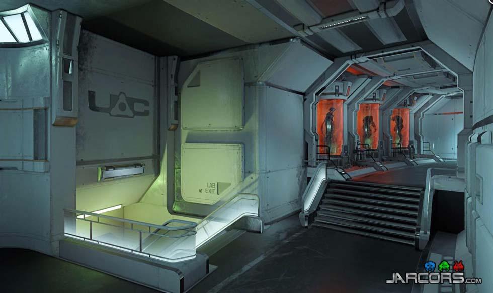 Esta captura no me dice nada. Podría ser perfectamente de Doom 3 o de Half-Life 2. Lo que es seguro, es que las criaturas que duermen en los depósitos de cristal se despertarán cuando atravesemos el pasillo.