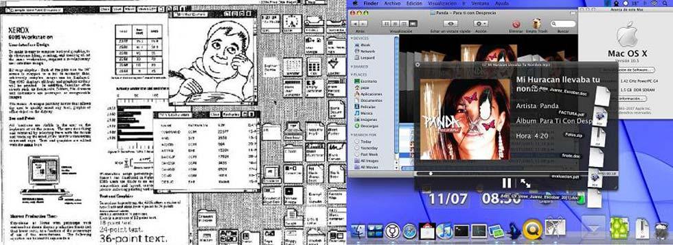 A la izquierda la GUI del Star 8010, a la derecha la del Mac OS. X.
