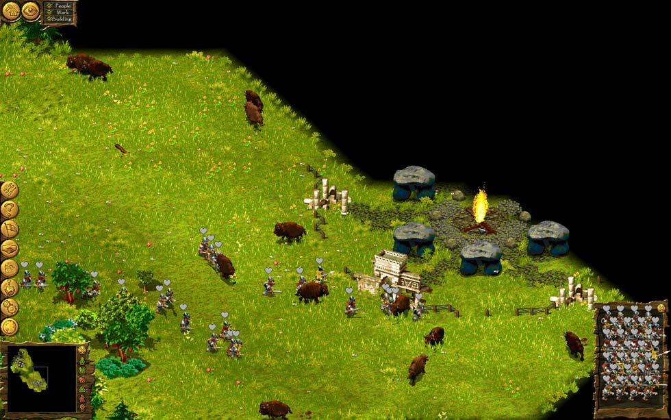 Resulta curioso ver una especie de stonehenge con un montón de bisontes alrededor. Desde luego parece ser algo que enamora a los personajes del juego.